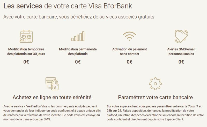 services cartes BforBank