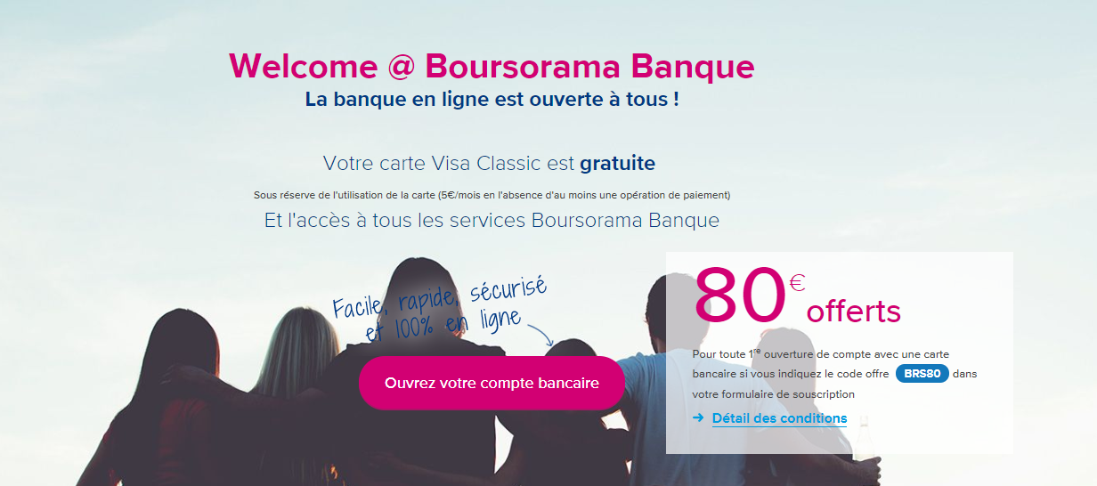 offre Welcome Boursorama Banque
